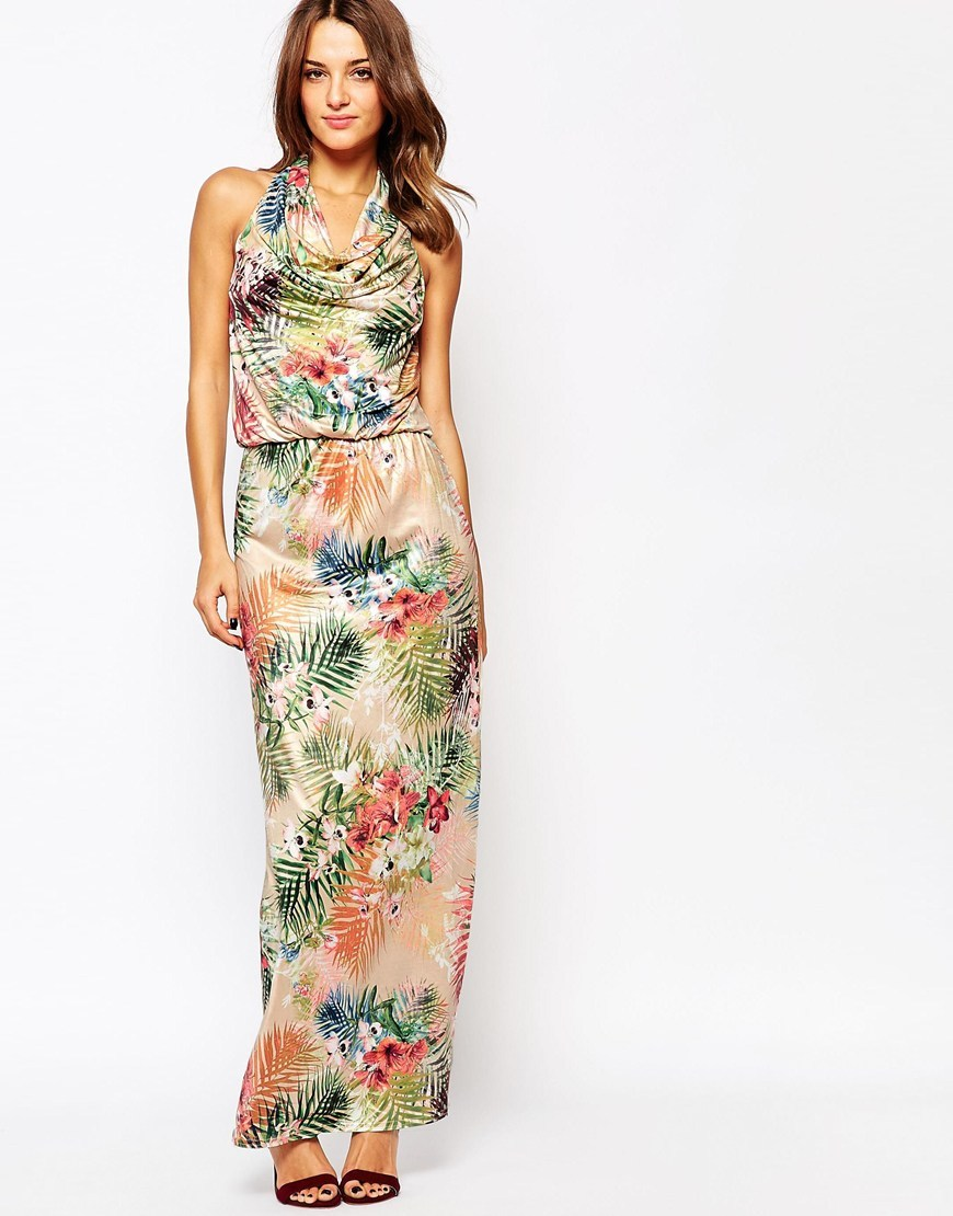 Liberty Tropical Maxi Dress Multi - neckline: cowl/draped neck; fit: fitted at waist; sleeve style: sleeveless; style: maxi dress; length: ankle length; predominant colour: ivory/cream; occasions: evening; fibres: polyester/polyamide - stretch; sleeve length: sleeveless; pattern type: fabric; pattern: patterned/print; texture group: other - light to midweight; multicoloured: multicoloured; season: s/s 2016; wardrobe: event