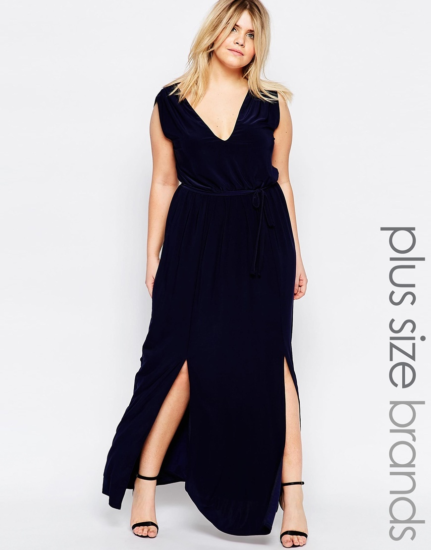 Plus Maxi Dress Wit Double Split And Waist Belt Navy - neckline: low v-neck; pattern: plain; sleeve style: sleeveless; style: maxi dress; predominant colour: navy; length: floor length; fit: soft a-line; fibres: polyester/polyamide - stretch; occasions: occasion; sleeve length: sleeveless; pattern type: fabric; pattern size: standard; texture group: other - light to midweight; season: s/s 2016; wardrobe: event