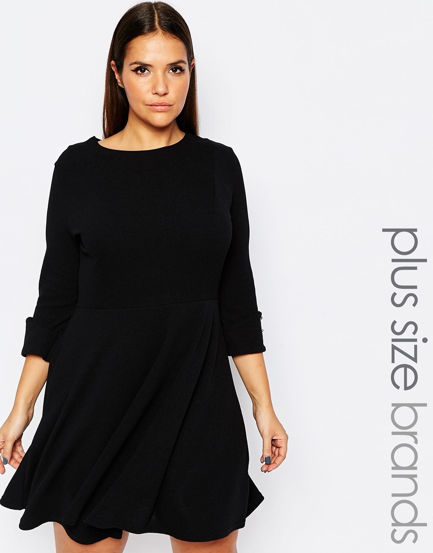 Plus Skater Dress With Button Sleeves Black - pattern: plain; predominant colour: black; occasions: evening; length: just above the knee; fit: fitted at waist & bust; style: fit & flare; fibres: polyester/polyamide - stretch; neckline: crew; sleeve length: 3/4 length; sleeve style: standard; pattern type: fabric; pattern size: standard; texture group: jersey - stretchy/drapey; season: s/s 2016