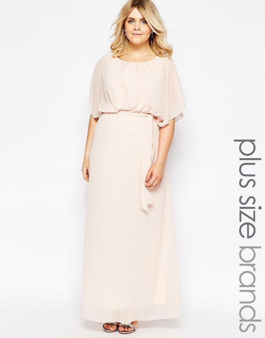 Plus Maxi Dress With Fluted Sleeves Nude - neckline: round neck; sleeve style: dolman/batwing; fit: fitted at waist; pattern: plain; style: maxi dress; length: ankle length; predominant colour: blush; fibres: polyester/polyamide - 100%; occasions: occasion; sleeve length: 3/4 length; texture group: sheer fabrics/chiffon/organza etc.; pattern type: fabric; season: s/s 2016; wardrobe: event