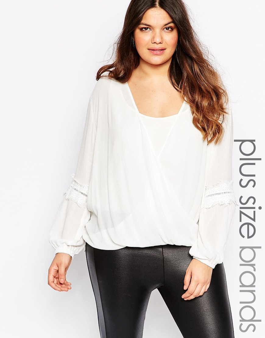 Wrap Front Embroidered Blouse Cream - neckline: low v-neck; pattern: plain; style: blouse; predominant colour: ivory/cream; occasions: casual, work, creative work; length: standard; fibres: viscose/rayon - 100%; fit: loose; sleeve length: long sleeve; sleeve style: standard; texture group: sheer fabrics/chiffon/organza etc.; pattern type: fabric; season: s/s 2016