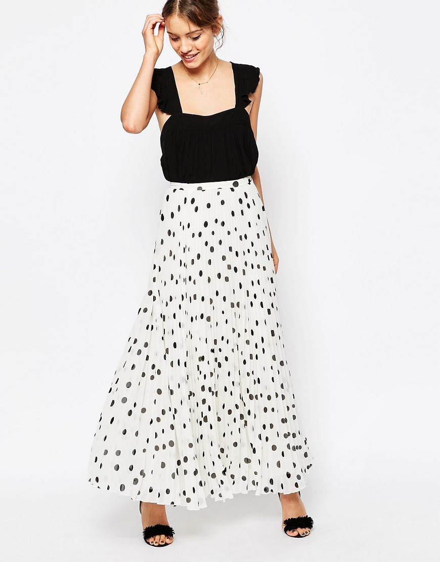 Pleated Maxi Skirt In Polka Dot Cream/Black - length: ankle length; fit: loose/voluminous; waist: high rise; predominant colour: ivory/cream; secondary colour: black; style: maxi skirt; fibres: polyester/polyamide - 100%; occasions: occasion; pattern type: fabric; pattern: patterned/print; texture group: other - light to midweight; pattern size: standard (bottom); season: s/s 2016; wardrobe: event