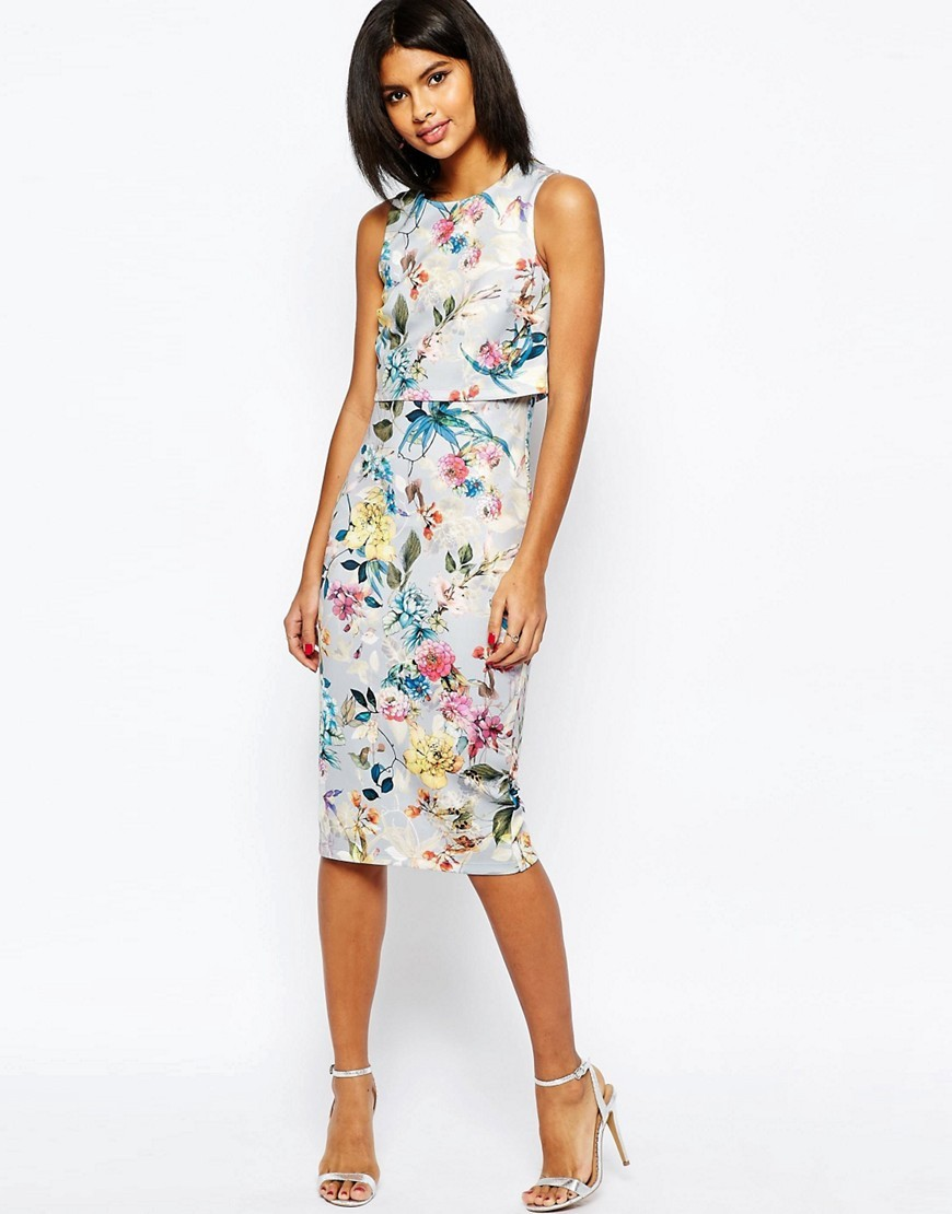 Botanical Crop Top Midi Pencil Dress Print - style: shift; length: below the knee; fit: tailored/fitted; sleeve style: sleeveless; predominant colour: ivory/cream; secondary colour: diva blue; fibres: polyester/polyamide - stretch; occasions: occasion; neckline: crew; sleeve length: sleeveless; pattern type: fabric; pattern size: standard; pattern: florals; texture group: other - light to midweight; multicoloured: multicoloured; season: s/s 2016