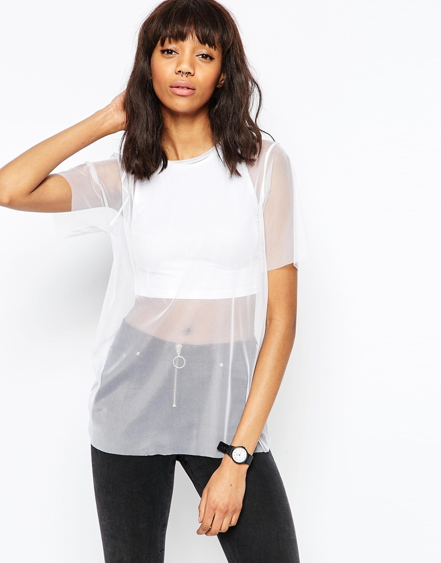 Sheer Mix Top White - pattern: plain; length: below the bottom; predominant colour: white; occasions: casual, evening; style: top; fibres: viscose/rayon - stretch; fit: body skimming; neckline: crew; sleeve length: half sleeve; sleeve style: standard; texture group: sheer fabrics/chiffon/organza etc.; pattern type: fabric; season: s/s 2016