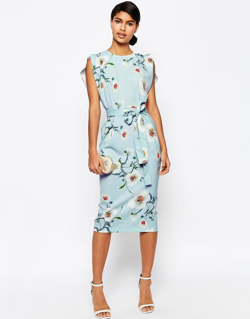 Belted Midi Dress With Split Cap Sleeve In Occasion Floral Multi - style: shift; length: below the knee; sleeve style: sleeveless; predominant colour: pale blue; fit: body skimming; fibres: polyester/polyamide - stretch; occasions: occasion; neckline: crew; sleeve length: sleeveless; pattern type: fabric; pattern size: standard; pattern: florals; texture group: other - light to midweight; multicoloured: multicoloured; season: s/s 2016; wardrobe: event