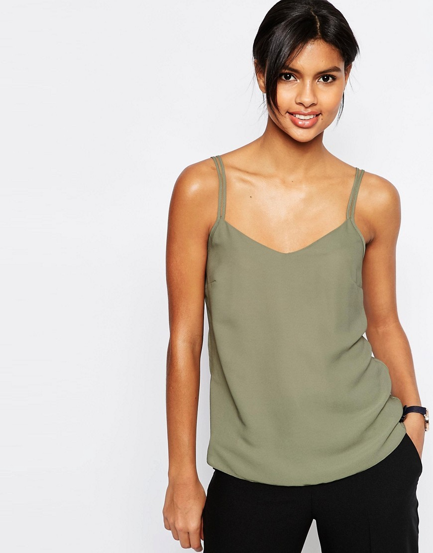 Woven Cami Top With Double Straps Khaki - neckline: v-neck; sleeve style: spaghetti straps; pattern: plain; style: camisole; back detail: back revealing; predominant colour: khaki; occasions: casual; length: standard; fibres: polyester/polyamide - 100%; fit: body skimming; sleeve length: sleeveless; pattern type: fabric; texture group: other - light to midweight; season: s/s 2016; wardrobe: highlight