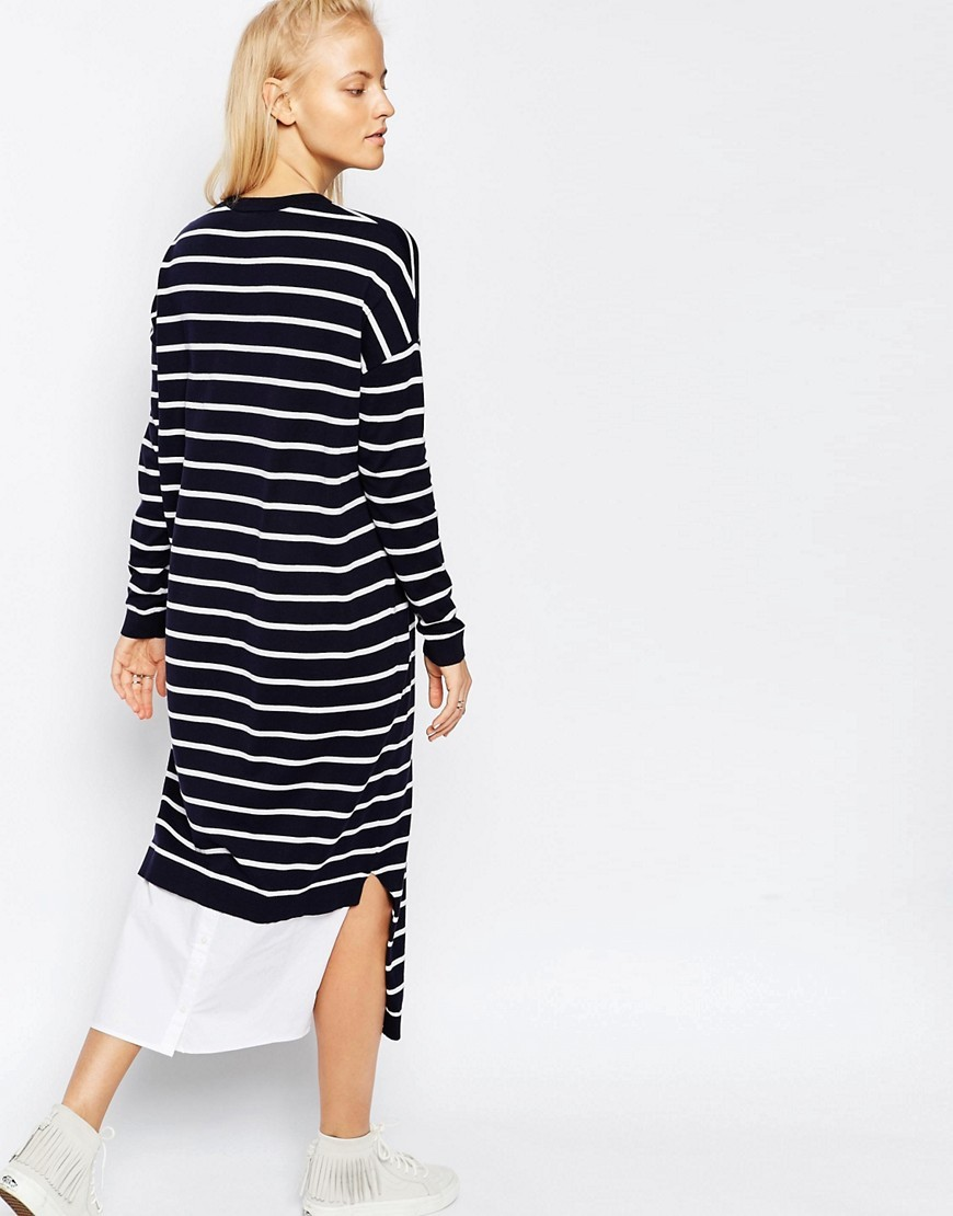 Stripe Knitted Midi Dress Multi - style: jumper dress; pattern: horizontal stripes; length: ankle length; secondary colour: white; predominant colour: navy; occasions: casual, creative work; fit: straight cut; fibres: cotton - 100%; neckline: crew; sleeve length: long sleeve; sleeve style: standard; texture group: knits/crochet; bust detail: bulky details at bust; pattern type: knitted - fine stitch; season: s/s 2016; wardrobe: highlight