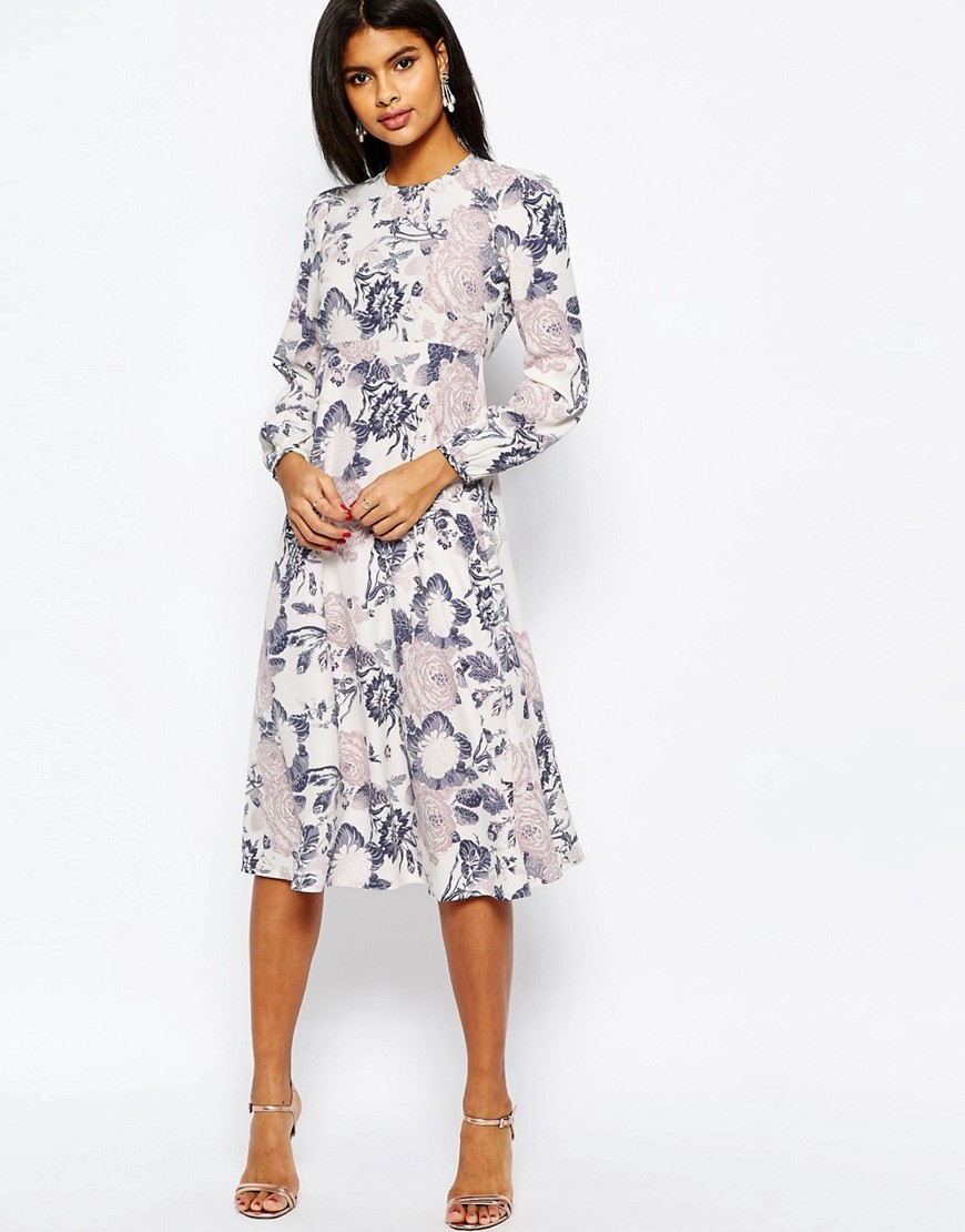 Printed Midi Column Dress In Wallpaper Print Grey - style: shift; length: below the knee; secondary colour: mid grey; predominant colour: light grey; fit: soft a-line; fibres: polyester/polyamide - 100%; occasions: occasion; neckline: crew; sleeve length: long sleeve; sleeve style: standard; pattern type: fabric; pattern size: standard; pattern: patterned/print; texture group: other - light to midweight; season: s/s 2016; wardrobe: event