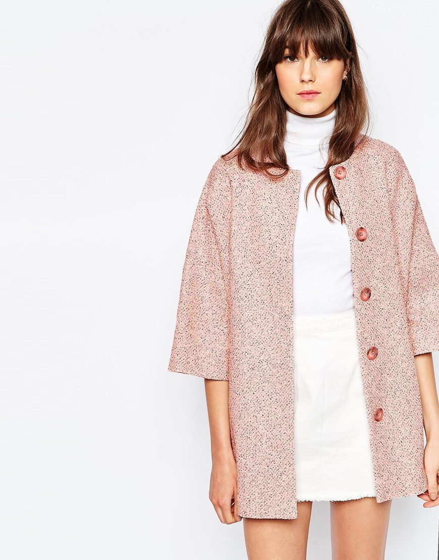 Kimono Coat In Pink Tweed Pink - collar: round collar/collarless; style: single breasted; length: mid thigh; predominant colour: pink; fit: straight cut (boxy); fibres: cotton - mix; sleeve length: 3/4 length; sleeve style: standard; collar break: medium; pattern type: fabric; pattern size: standard; pattern: patterned/print; texture group: tweed - light/midweight; occasions: creative work; season: s/s 2016