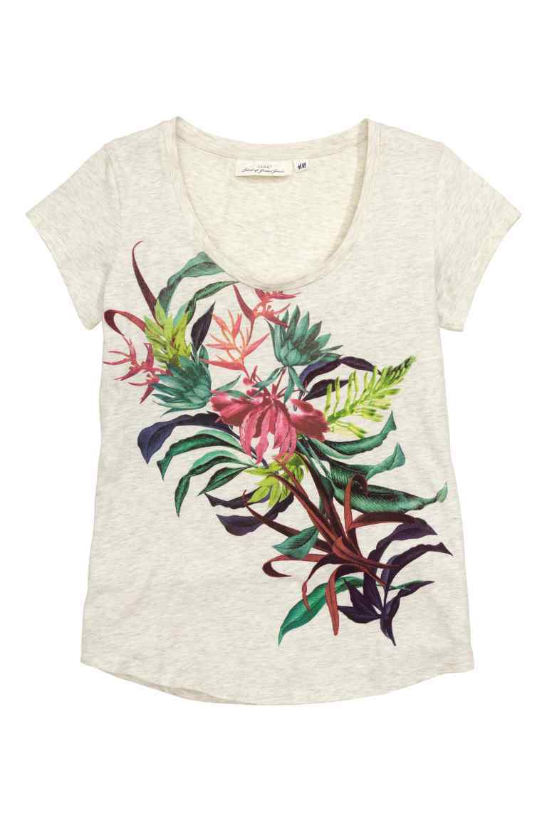 Jersey Top With A Print Motif - neckline: round neck; style: t-shirt; secondary colour: dark green; predominant colour: stone; occasions: casual; length: standard; fibres: cotton - 100%; fit: body skimming; sleeve length: short sleeve; sleeve style: standard; pattern type: fabric; pattern: florals; texture group: jersey - stretchy/drapey; multicoloured: multicoloured; season: s/s 2016; wardrobe: highlight