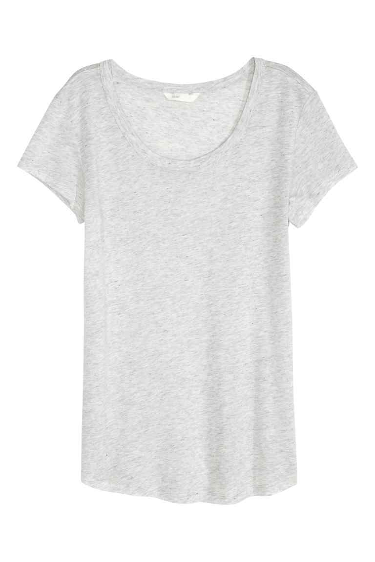 Lyocell Jersey Top - neckline: round neck; pattern: plain; style: vest top; predominant colour: light grey; occasions: casual; length: standard; fibres: viscose/rayon - 100%; fit: body skimming; sleeve length: short sleeve; sleeve style: standard; pattern type: fabric; texture group: jersey - stretchy/drapey; season: s/s 2016; wardrobe: basic