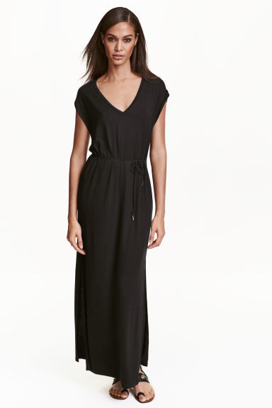 Jersey Maxi Dress - neckline: v-neck; pattern: plain; sleeve style: sleeveless; style: maxi dress; waist detail: belted waist/tie at waist/drawstring; predominant colour: black; occasions: evening; length: floor length; fit: body skimming; fibres: viscose/rayon - stretch; sleeve length: sleeveless; pattern type: fabric; texture group: jersey - stretchy/drapey; season: s/s 2016; wardrobe: event