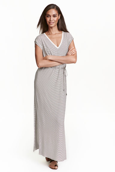 Jersey Maxi Dress - neckline: v-neck; style: maxi dress; pattern: striped; waist detail: belted waist/tie at waist/drawstring; predominant colour: light grey; occasions: casual; length: floor length; fit: body skimming; fibres: viscose/rayon - stretch; sleeve length: short sleeve; sleeve style: standard; pattern type: fabric; texture group: jersey - stretchy/drapey; season: s/s 2016; wardrobe: highlight