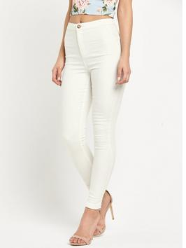 Steffi Skinny Jeans - style: skinny leg; length: standard; pattern: plain; waist: high rise; predominant colour: white; occasions: casual; fibres: cotton - stretch; texture group: denim; pattern type: fabric; season: s/s 2016