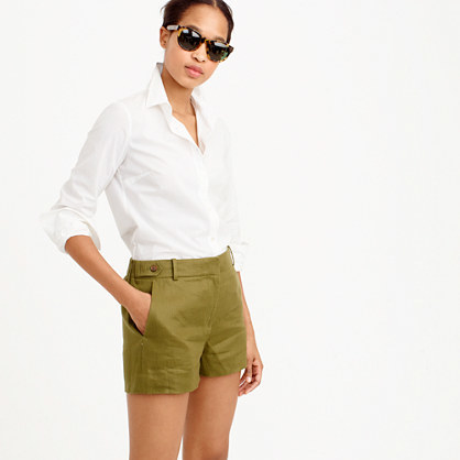 Garden Short In Linen - pattern: plain; waist: mid/regular rise; predominant colour: khaki; occasions: casual; fibres: linen - 100%; texture group: cotton feel fabrics; pattern type: fabric; season: s/s 2016; style: shorts; length: short shorts; fit: slim leg
