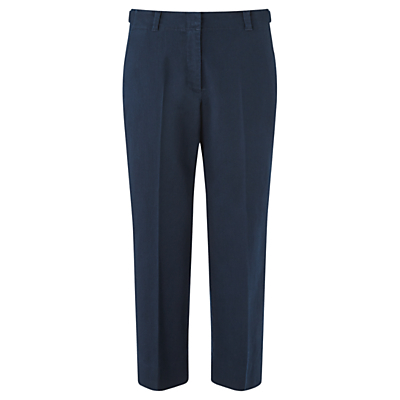 Cropped Straight Chino Trousers, Navy - pattern: plain; waist: mid/regular rise; predominant colour: navy; occasions: work, creative work; length: ankle length; fibres: cotton - 100%; waist detail: feature waist detail; fit: straight leg; pattern type: fabric; texture group: other - light to midweight; style: standard; season: s/s 2016; wardrobe: basic