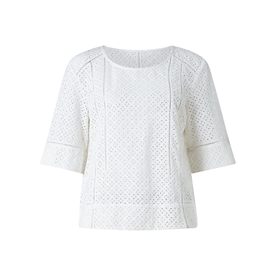 Ladder Stitch Broderie Top, White - neckline: round neck; pattern: plain; predominant colour: white; occasions: casual, creative work; length: standard; style: top; fibres: cotton - 100%; fit: body skimming; sleeve length: half sleeve; sleeve style: standard; texture group: cotton feel fabrics; pattern type: fabric; season: s/s 2016; wardrobe: basic