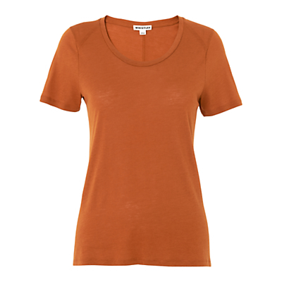Maye Seam Back T Shirt, Rust - neckline: round neck; pattern: plain; style: t-shirt; predominant colour: terracotta; occasions: casual; length: standard; fibres: viscose/rayon - 100%; fit: body skimming; sleeve length: short sleeve; sleeve style: standard; pattern type: fabric; texture group: jersey - stretchy/drapey; season: s/s 2016; wardrobe: highlight