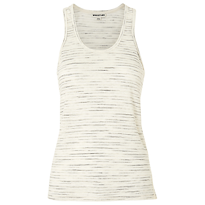 Linen Racer Back Vest - sleeve style: sleeveless; length: below the bottom; style: vest top; predominant colour: ivory/cream; occasions: casual, holiday, activity; neckline: scoop; fibres: linen - 100%; fit: body skimming; sleeve length: sleeveless; texture group: linen; pattern type: fabric; pattern size: standard; pattern: marl; season: s/s 2016