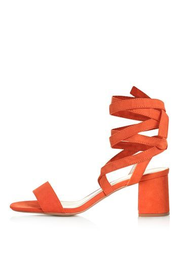 Delilah Tie Up Sandals - predominant colour: bright orange; occasions: evening; material: fabric; heel height: mid; ankle detail: ankle tie; heel: block; toe: open toe/peeptoe; style: strappy; finish: plain; pattern: plain; season: s/s 2016; wardrobe: event
