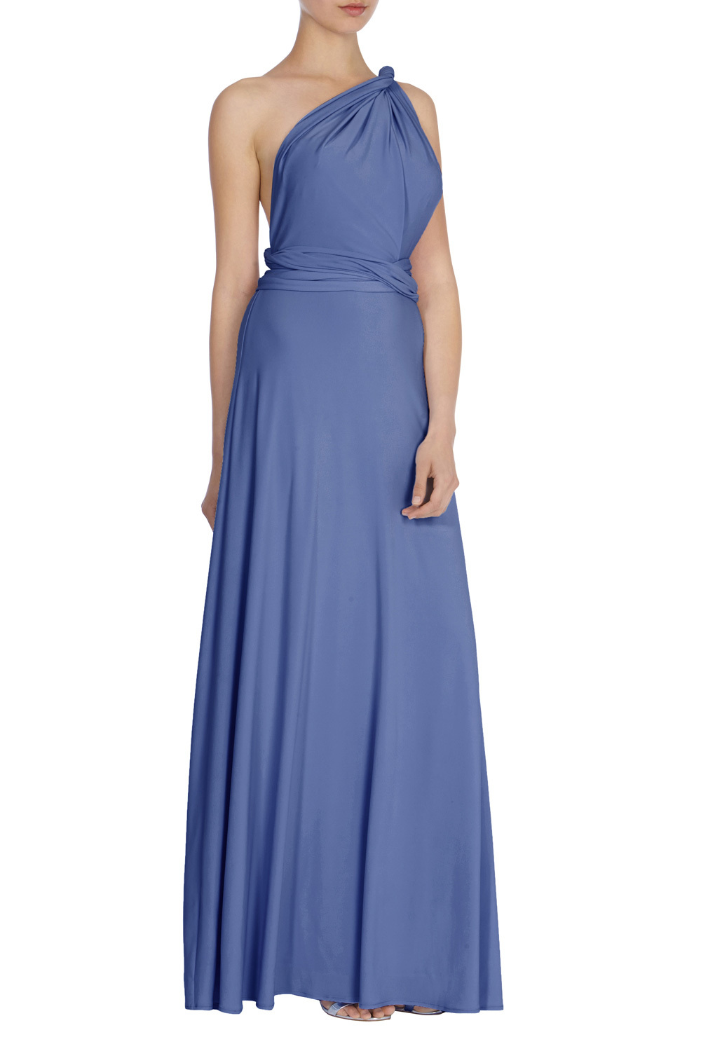 Corwin Multi Tie Maxi Sl - style: ballgown; fit: fitted at waist; pattern: plain; sleeve style: sleeveless; neckline: asymmetric; waist detail: twist front waist detail/nipped in at waist on one side/soft pleats/draping/ruching/gathering waist detail; predominant colour: denim; length: floor length; fibres: polyester/polyamide - 100%; occasions: occasion; sleeve length: sleeveless; texture group: crepes; pattern type: fabric; season: s/s 2016