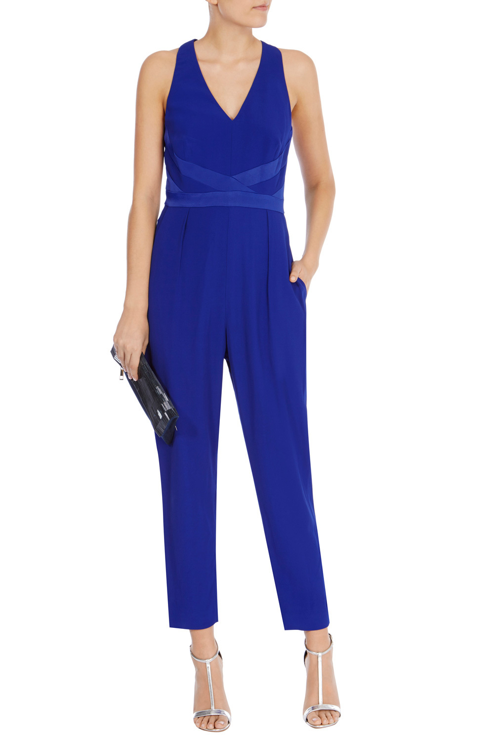 Viola Halter Neck Jumpsuit - neckline: low v-neck; fit: tailored/fitted; pattern: plain; sleeve style: sleeveless; predominant colour: royal blue; length: ankle length; fibres: viscose/rayon - 100%; occasions: occasion; hip detail: subtle/flattering hip detail; sleeve length: sleeveless; style: jumpsuit; pattern type: fabric; texture group: jersey - stretchy/drapey; season: s/s 2016; wardrobe: event; embellishment location: waist