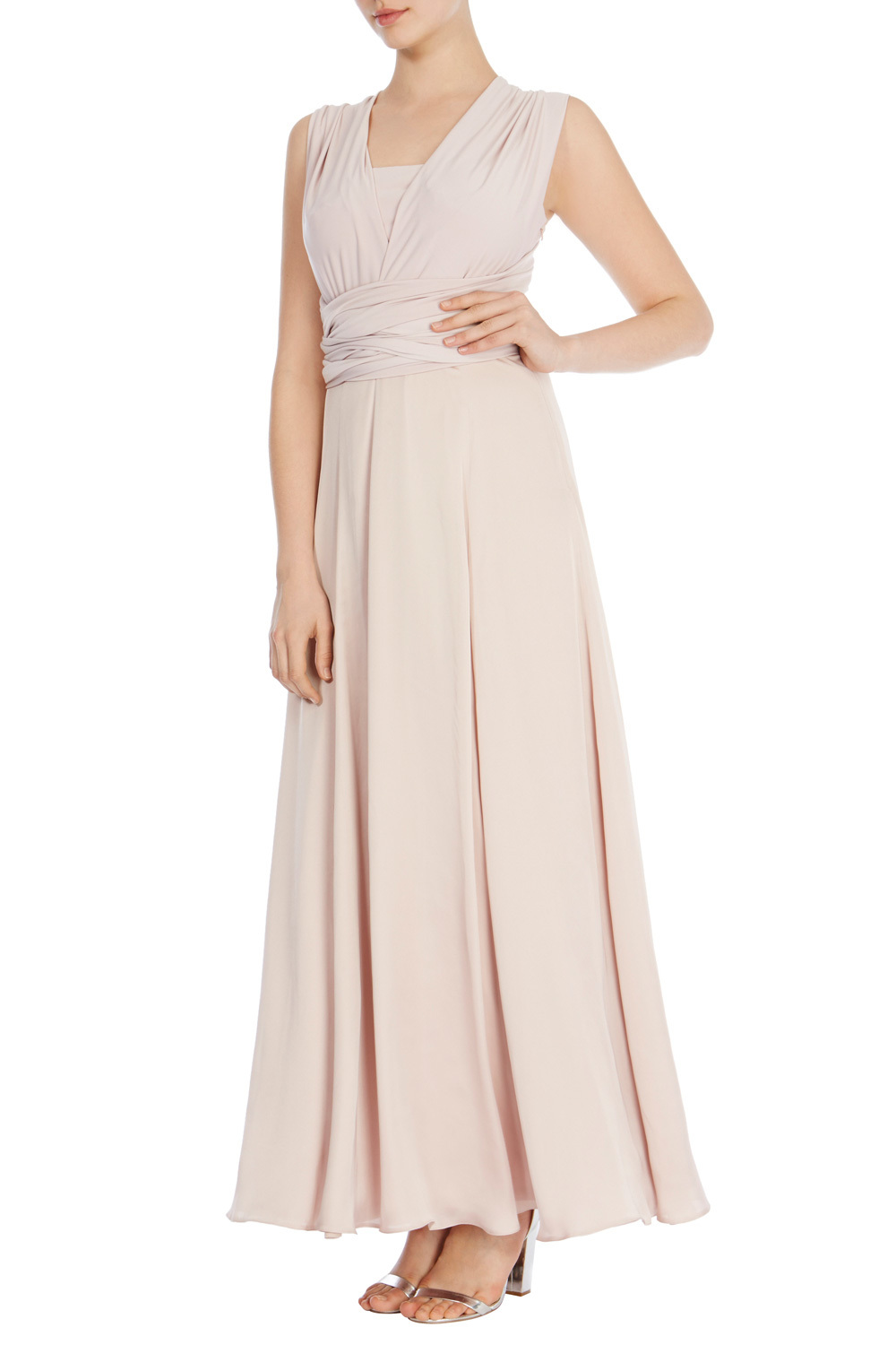 Corwin Woven Maxi Dress - neckline: v-neck; pattern: plain; sleeve style: sleeveless; style: maxi dress; length: ankle length; predominant colour: blush; occasions: evening; fit: body skimming; fibres: polyester/polyamide - 100%; sleeve length: sleeveless; pattern type: fabric; texture group: jersey - stretchy/drapey; season: s/s 2016; wardrobe: event