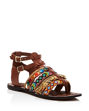 Lanai Embellished Strappy Flat Sandals - secondary colour: yellow; predominant colour: chocolate brown; occasions: casual; material: leather; heel height: flat; embellishment: embroidered; ankle detail: ankle strap; heel: standard; toe: open toe/peeptoe; style: strappy; finish: plain; pattern: patterned/print; multicoloured: multicoloured; season: s/s 2016; wardrobe: highlight