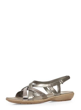 Womens Evans Pewter Cross Strap Sandals, Pewter - predominant colour: silver; occasions: casual, holiday; material: faux leather; heel height: flat; ankle detail: ankle strap; heel: wedge; toe: open toe/peeptoe; style: strappy; finish: metallic; pattern: plain; season: s/s 2016; wardrobe: basic