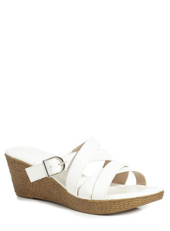 Womens Classic Wedged Criss Cross Mule, White, White - predominant colour: white; occasions: casual, holiday; material: faux leather; heel height: mid; heel: wedge; toe: open toe/peeptoe; style: slides; finish: plain; pattern: plain; season: s/s 2016; wardrobe: highlight