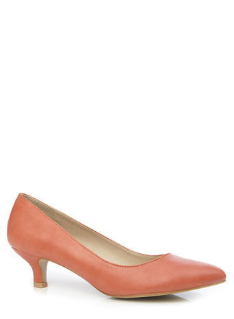 Womens Classic Almond Toe Kitten Heels, Orange, Orange - predominant colour: pink; occasions: evening, work; material: faux leather; heel height: mid; heel: kitten; toe: pointed toe; style: courts; finish: plain; pattern: plain; season: s/s 2016; wardrobe: highlight