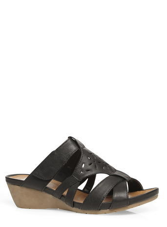 Womens Evans Black Comfort Wedges, Black - predominant colour: black; occasions: casual, holiday; material: faux leather; heel height: mid; heel: wedge; toe: open toe/peeptoe; style: slides; finish: plain; pattern: plain; season: s/s 2016; wardrobe: highlight