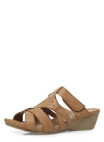 Womens Evans Tan Comfort Wedges, Tan/Rust - predominant colour: tan; occasions: casual, holiday; material: faux leather; heel height: mid; heel: wedge; toe: open toe/peeptoe; style: slides; finish: plain; pattern: plain; season: s/s 2016; wardrobe: highlight