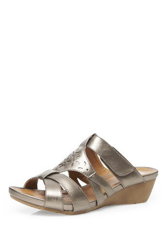Womens Evans Pewter Comfort Wedges, Pewter - occasions: casual, holiday; material: faux leather; heel height: mid; heel: wedge; toe: open toe/peeptoe; style: slides; finish: metallic; pattern: plain; predominant colour: pewter; season: s/s 2016; wardrobe: highlight