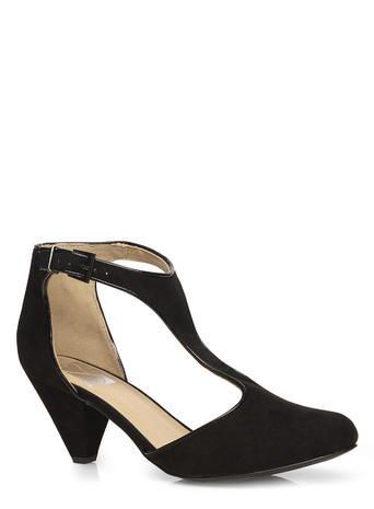 Womens Evans Black T Bar Heel, Black - predominant colour: black; occasions: work, creative work; material: suede; heel height: mid; ankle detail: ankle strap; heel: cone; toe: round toe; style: t-bar; finish: plain; pattern: plain; season: s/s 2016; wardrobe: investment