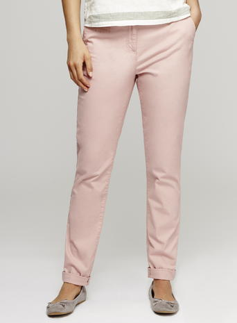 Womens Rolled Up Hem Chino Trousers, Soft Pink, Soft Pink - length: standard; pattern: plain; waist: mid/regular rise; predominant colour: blush; occasions: casual, creative work; fibres: cotton - stretch; fit: straight leg; pattern type: fabric; texture group: woven light midweight; style: standard; season: s/s 2016; wardrobe: basic