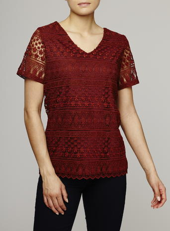Womens Short Sleeved V Neck Lace Shell Top, Ginger, Ginger - neckline: v-neck; pattern: plain; predominant colour: burgundy; occasions: evening, work; length: standard; style: top; fibres: polyester/polyamide - 100%; fit: body skimming; sleeve length: short sleeve; sleeve style: standard; texture group: sheer fabrics/chiffon/organza etc.; pattern type: fabric; embellishment: lace; season: s/s 2016; wardrobe: highlight