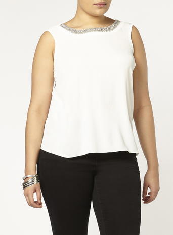 Womens Evans Ivory Embellished Neck Vest, Ivory - neckline: round neck; pattern: plain; sleeve style: sleeveless; length: below the bottom; predominant colour: ivory/cream; occasions: casual; style: top; fibres: polyester/polyamide - stretch; fit: body skimming; sleeve length: sleeveless; pattern type: fabric; texture group: other - light to midweight; season: s/s 2016; wardrobe: basic
