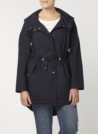 Womens Evans Navy Hooded Parka, Navy - pattern: plain; length: below the bottom; fit: loose; style: parka; back detail: hood; collar: high neck; predominant colour: navy; occasions: casual; fibres: cotton - mix; waist detail: belted waist/tie at waist/drawstring; sleeve length: long sleeve; sleeve style: standard; texture group: cotton feel fabrics; collar break: high; pattern type: fabric; season: s/s 2016; wardrobe: basic