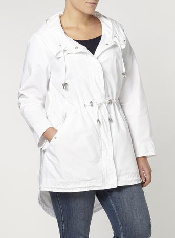 Womens Evans Ivory Hooded Parka Coat, Ivory - pattern: plain; fit: loose; style: parka; back detail: hood; collar: high neck; length: mid thigh; predominant colour: white; occasions: casual; fibres: cotton - mix; waist detail: belted waist/tie at waist/drawstring; sleeve length: long sleeve; sleeve style: standard; texture group: cotton feel fabrics; collar break: high; pattern type: fabric; season: s/s 2016