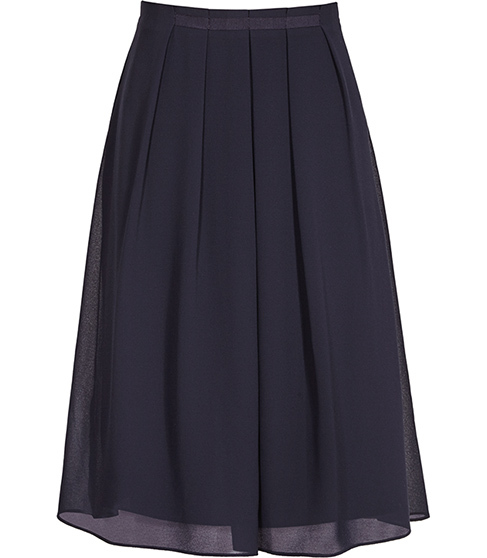Petulia Pleated Skirt - pattern: plain; fit: loose/voluminous; style: pleated; waist: high rise; predominant colour: navy; occasions: evening, work, creative work; length: just above the knee; fibres: polyester/polyamide - 100%; hip detail: adds bulk at the hips; texture group: sheer fabrics/chiffon/organza etc.; pattern type: fabric; season: s/s 2016; wardrobe: basic