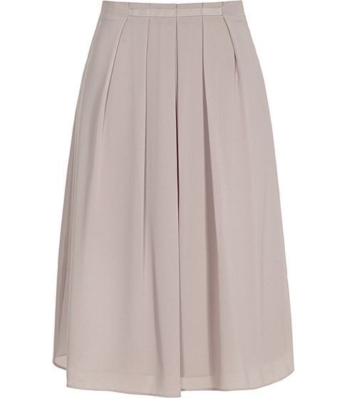Petulia Pleated Skirt - pattern: plain; fit: loose/voluminous; style: pleated; waist: high rise; predominant colour: stone; occasions: evening, creative work; length: on the knee; fibres: polyester/polyamide - 100%; hip detail: structured pleats at hip; texture group: sheer fabrics/chiffon/organza etc.; pattern type: fabric; season: s/s 2016; wardrobe: basic