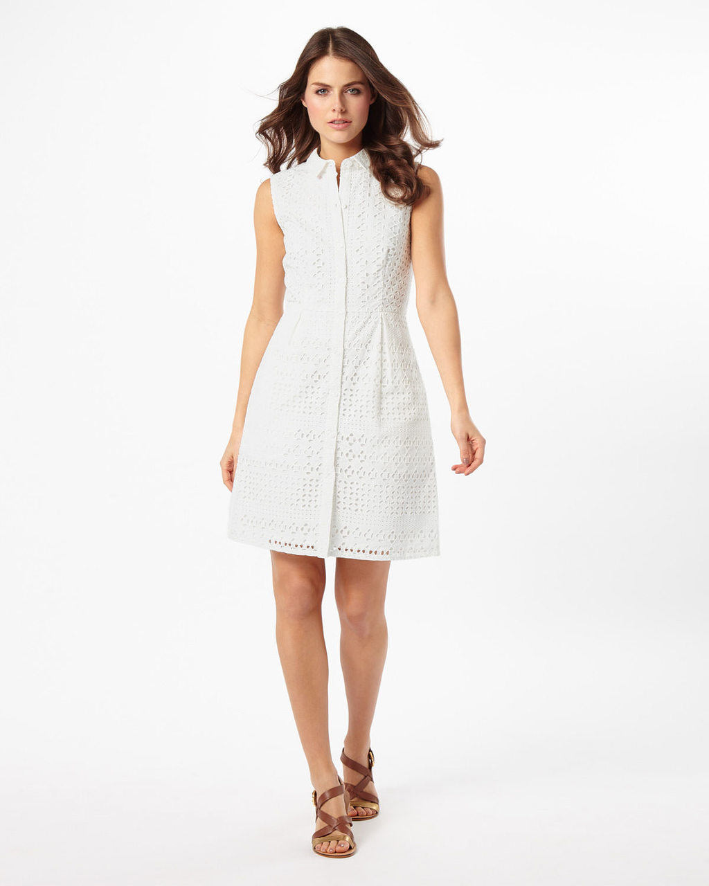 Tessa Broderie Shift Dress - style: shirt; neckline: shirt collar/peter pan/zip with opening; pattern: plain; sleeve style: sleeveless; predominant colour: white; occasions: casual; length: just above the knee; fit: body skimming; fibres: cotton - 100%; sleeve length: sleeveless; pattern type: fabric; texture group: broiderie anglais; season: s/s 2016; wardrobe: highlight