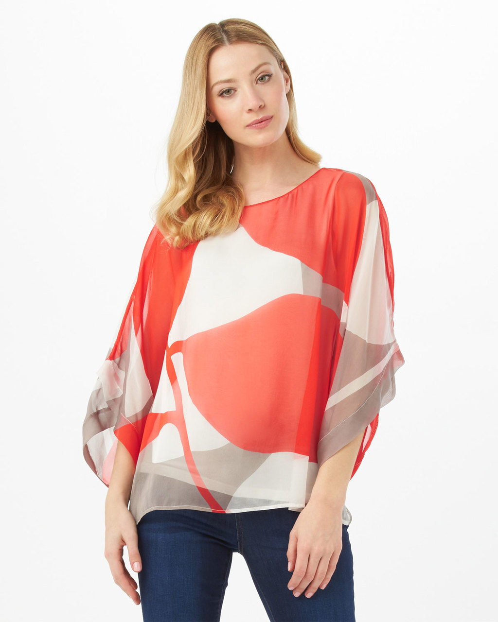 Esmerelda Print Silk Blouse - neckline: round neck; sleeve style: angel/waterfall; style: blouse; predominant colour: ivory/cream; secondary colour: bright orange; occasions: evening, creative work; length: standard; fibres: silk - 100%; fit: loose; sleeve length: 3/4 length; texture group: silky - light; pattern type: fabric; pattern: patterned/print; pattern size: big & busy (top); season: s/s 2016; wardrobe: highlight