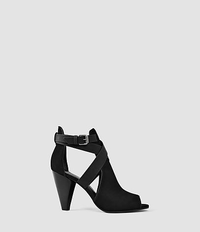 Benny Heel Sandal - predominant colour: black; material: leather; heel height: high; heel: cone; toe: open toe/peeptoe; style: strappy; finish: plain; pattern: plain; occasions: creative work; season: s/s 2016; wardrobe: investment