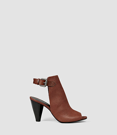 Branson Heel - predominant colour: tan; material: leather; heel height: high; heel: cone; toe: open toe/peeptoe; style: slingbacks; finish: plain; pattern: plain; occasions: creative work; season: s/s 2016; wardrobe: highlight