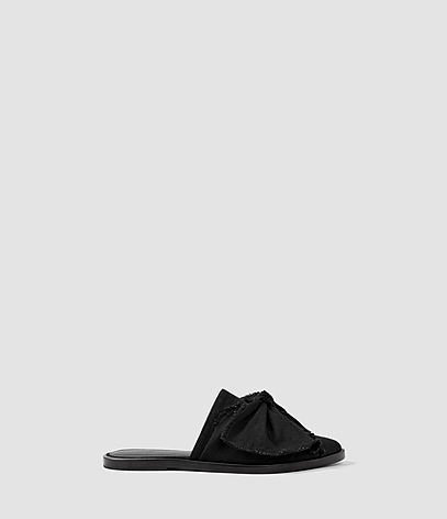 Rumour Slip On Shoe - predominant colour: black; occasions: casual, creative work; material: leather; heel height: flat; toe: round toe; style: mules; finish: plain; pattern: plain; embellishment: bow; season: s/s 2016
