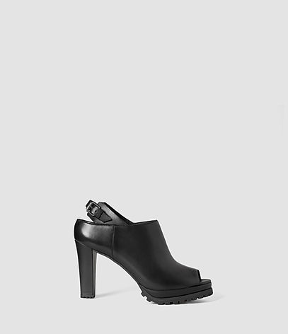 Hathaway Heel - predominant colour: black; occasions: casual; material: leather; heel: block; toe: open toe/peeptoe; boot length: shoe boot; style: standard; finish: plain; pattern: plain; heel height: very high; shoe detail: platform with tread; season: s/s 2016; wardrobe: highlight