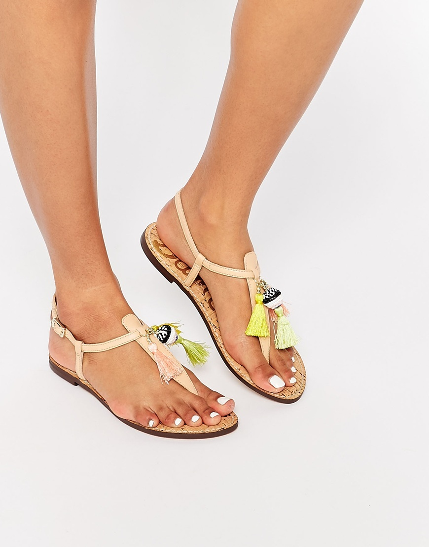 Garsem Nude Tassel Toe Post Flat Sandal Natural - predominant colour: nude; occasions: casual, holiday; material: leather; heel height: flat; embellishment: tassels; ankle detail: ankle strap; heel: block; toe: toe thongs; style: strappy; finish: plain; pattern: plain; multicoloured: multicoloured; season: s/s 2016