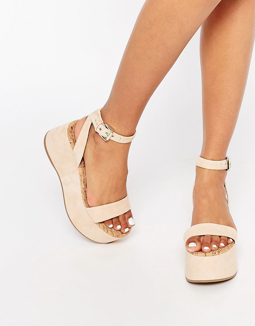 Henley Suede Flatform Sandal Soft Nude - predominant colour: nude; occasions: casual, creative work; material: leather; heel height: mid; ankle detail: ankle strap; heel: wedge; toe: open toe/peeptoe; style: strappy; finish: plain; pattern: animal print; shoe detail: platform; season: s/s 2016